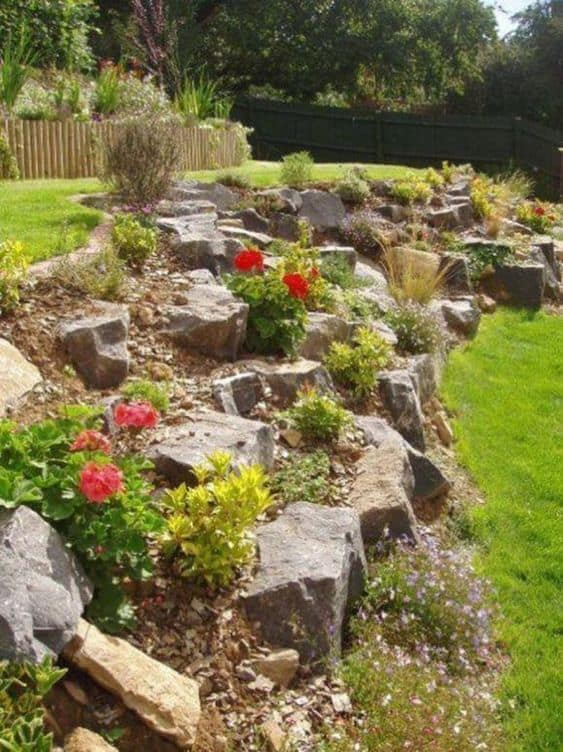 inclined yard as an elevated garden bed with hard rocks  #flowerbeds #flowers #garden #backyardLandscaping #backyardLandscapingIdeas #landscaping #cheapLandscapingIdeas #backyard #landscaping  #curbAppeal