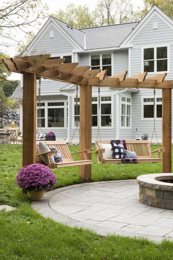 two arbor with swing and pergola roof #arbor #backyardLandscaping #backyardLandscapingIdeas #landscaping #cheapLandscapingIdeas #backyard #landscaping #pergola