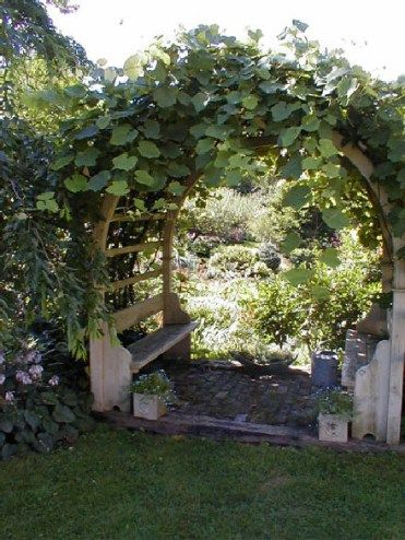 moon gate arbor with 2 bench seats, surrounded with climbing plants #flowers #pergola #vines  #arbor #backyardLandscaping #backyardLandscapingIdeas #landscaping #cheapLandscapingIdeas
