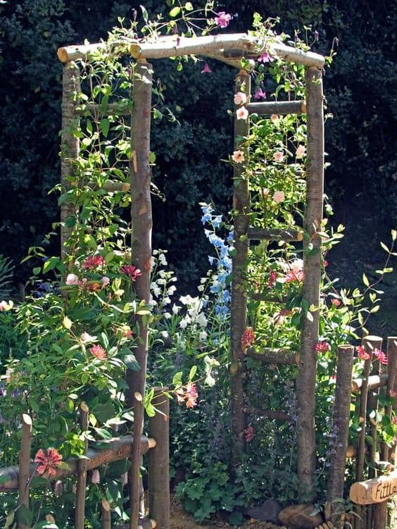 rustic garden arbor made with natural wood with climbing flowers #arbor #backyardLandscaping #backyardLandscapingIdeas #landscaping #cheapLandscapingIdeas  #flowers #pergola #vines