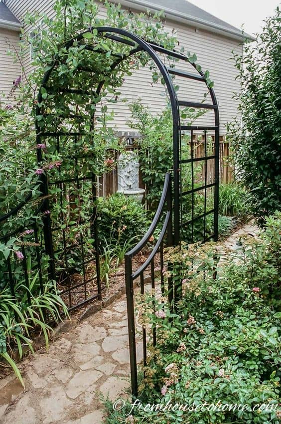 basic black metal arbor with gates  #flowers #pergola #vines  #arbor #backyardLandscaping #backyardLandscapingIdeas #landscaping #cheapLandscapingIdeas