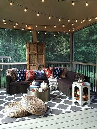 bohemian themed patio with screen enclosure  #patioideas #patiodeck #outdoorSpace #outdoordecor #patiodecor #patio #outdoorliving #outdoorFurniture#stringLights #outdoorLights #OutdoorLighting #backyardLighting#pavillion #pavilion