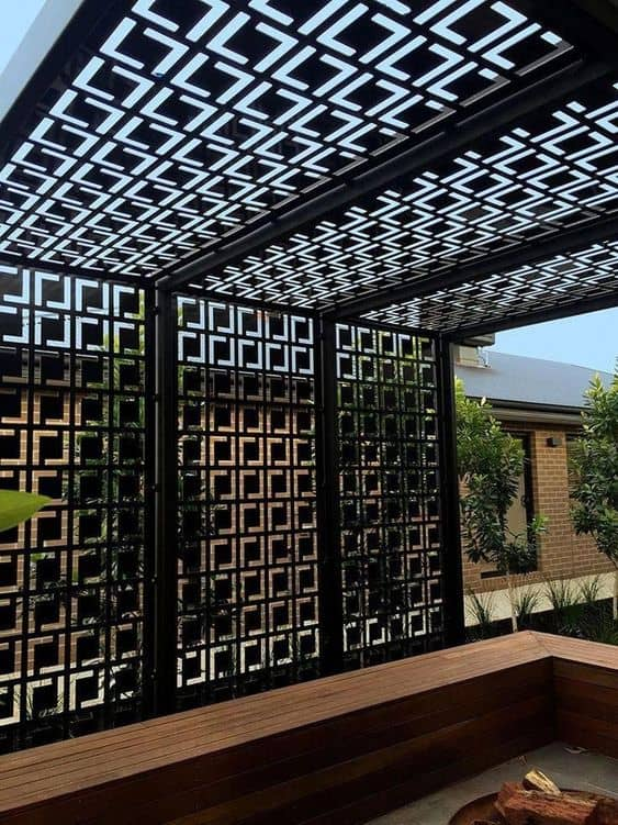 metal pattern roof for a pergola cover #pergola #backyardLandscaping #backyardLandscapingIdeas #landscaping #cheapLandscapingIdeas #landscape #pavilion #curbAppeal #outdoorliving #outdoorShade