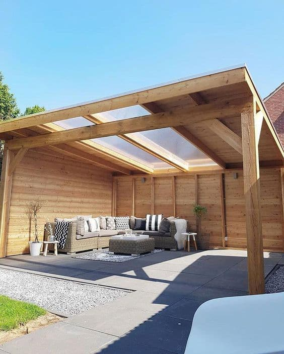 wood an two panels of transparent rood for a pergola cover #pergola #backyardLandscaping #backyardLandscapingIdeas #landscaping #cheapLandscapingIdeas #landscape #pavilion #curbAppeal #outdoorliving #outdoorShade