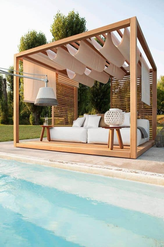 folding pattern with the draping fabric on the sides for a pool pergola #pergola #backyardLandscaping #backyardLandscapingIdeas #landscaping #cheapLandscapingIdeas #landscape #pavilion #curbAppeal #outdoorliving #outdoorShade