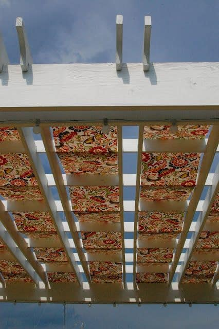 Fabrics with patterns or prints for a pergola roof cover #pergola #backyardLandscaping #backyardLandscapingIdeas #landscaping #cheapLandscapingIdeas #landscape #pavilion #curbAppeal #outdoorliving #outdoorShade