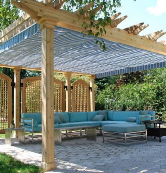 cute vintage fabric pergola cover  #pergola #backyardLandscaping #backyardLandscapingIdeas #landscaping #cheapLandscapingIdeas #landscape #pavilion #curbAppeal #outdoorliving #outdoorShade