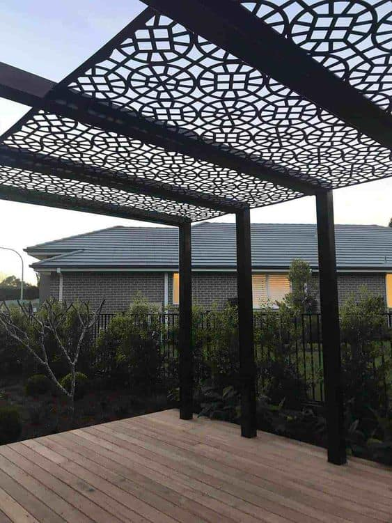 geometric shapes metal roof for a pergola cover #pergola #backyardLandscaping #backyardLandscapingIdeas #landscaping #cheapLandscapingIdeas #landscape #pavilion #curbAppeal #outdoorliving #outdoorShade