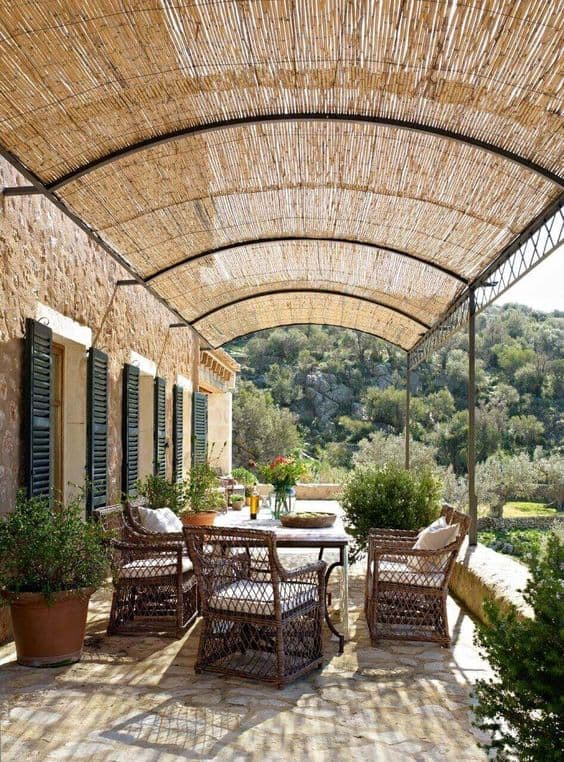 tightly packed bamboo pergola cover #pergola #backyardLandscaping #backyardLandscapingIdeas #landscaping #cheapLandscapingIdeas #landscape #pavilion #curbAppeal #outdoorliving #outdoorShade
