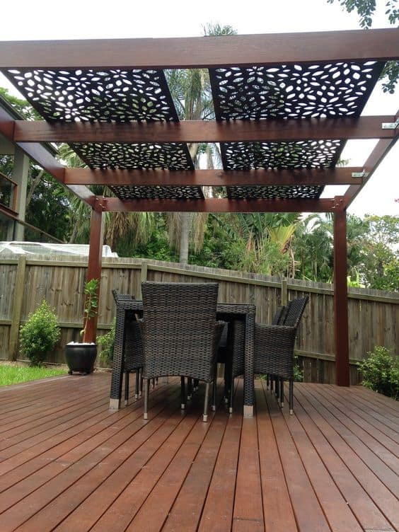 flower patterned shades for a metal roof pergola #pergola #backyardLandscaping #backyardLandscapingIdeas #landscaping #cheapLandscapingIdeas #landscape #pavilion #curbAppeal #outdoorliving #outdoorShade