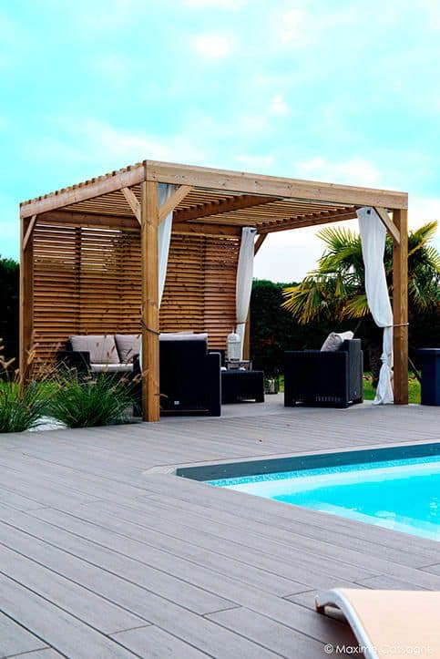 double-sided wood covers for pergola #pergola #backyardLandscaping #backyardLandscapingIdeas #landscaping #cheapLandscapingIdeas #landscape #pavilion #curbAppeal #outdoorliving #outdoorShade