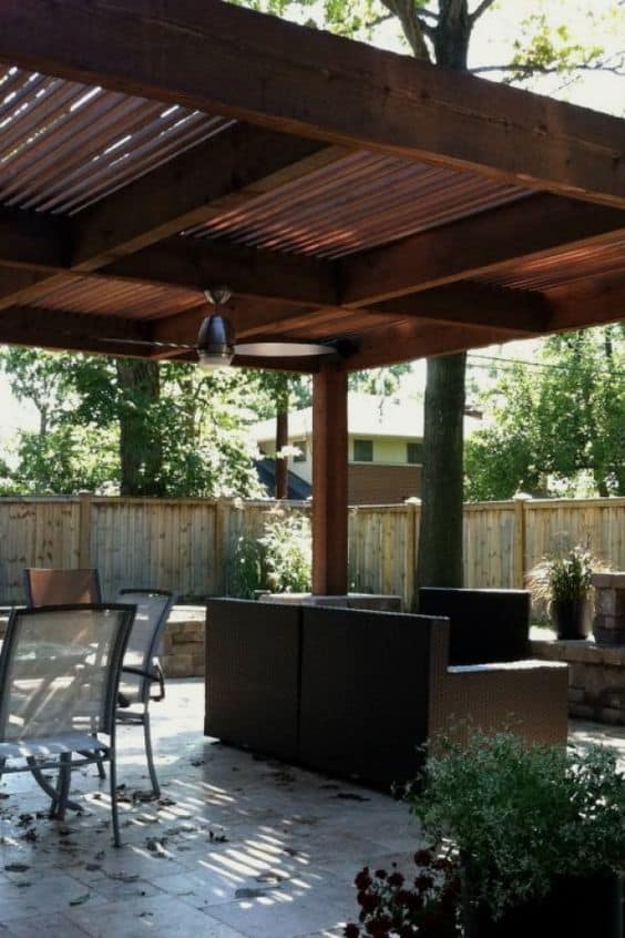 wooden roof on a pergola #pergola #backyardLandscaping #backyardLandscapingIdeas #landscaping #cheapLandscapingIdeas #landscape #pavilion #curbAppeal #outdoorliving #outdoorShade