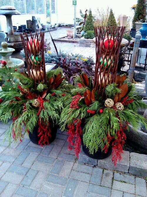 Christmas balls for winter garden container #christmas  #containers #planters #gardenplanters #christmasBall
