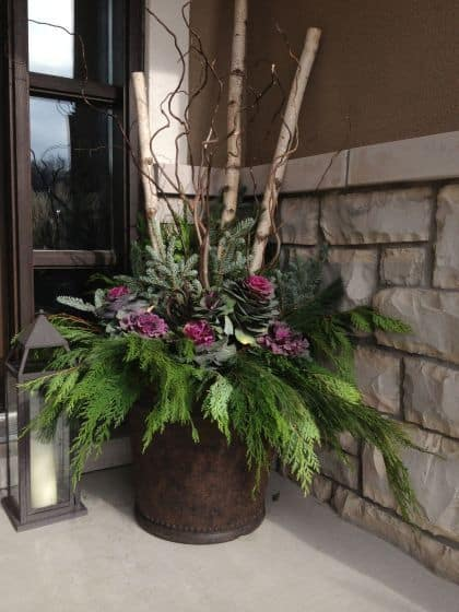 pine and cedar boughs just bursting out of this large planter #porchIdeas #porch #winter #frontDoorDecor #homeDecor #patiodecor  #Planters