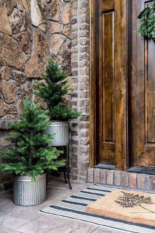 christmass trees on planters #porchIdeas #porch #winter #frontDoorDecor #homeDecor #patiodecor  #christmasTree