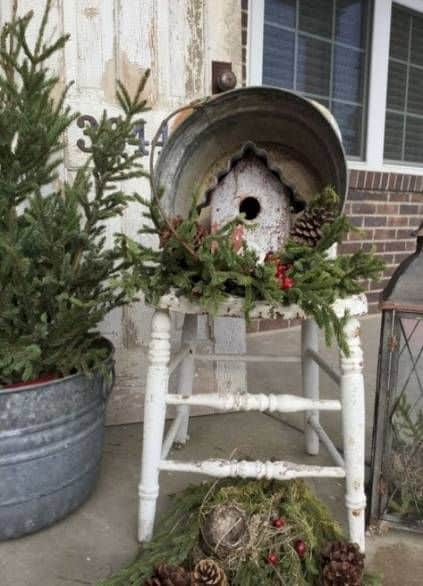 rustic old chair  decorated with winter decors #porchIdeas #porch #winter #frontDoorDecor #homeDecor #patiodecor