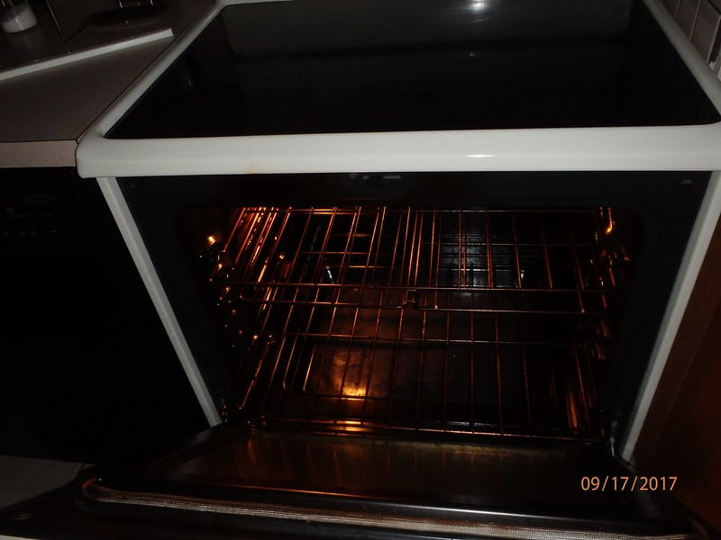 An open oven door