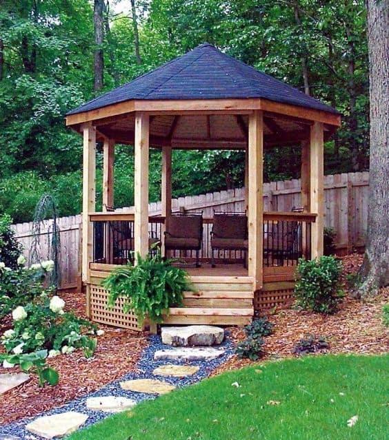 a modern wooden gazebo #gazeboideas #gazebo #pavillion #pavilion #backyardGazebo #patioFurniture