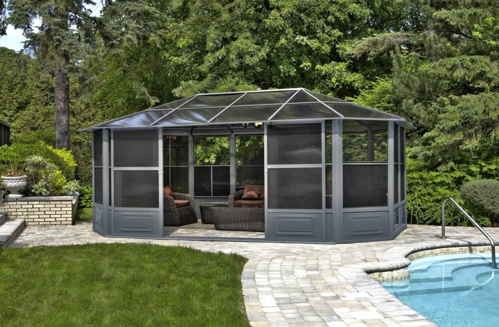 Chrome gazebo beside the pool