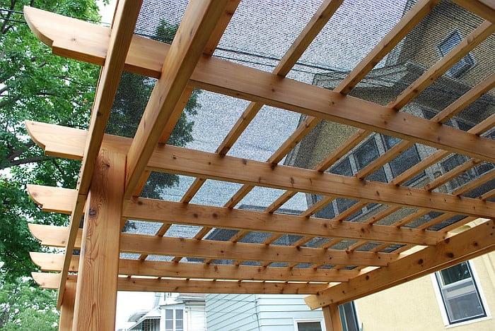 A shot of a pergola lattice roof