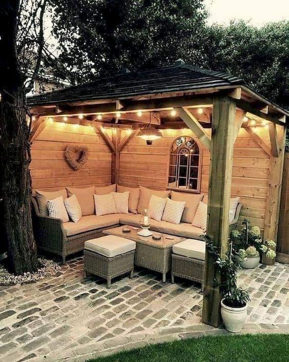 Outdoor gazebo with lighting