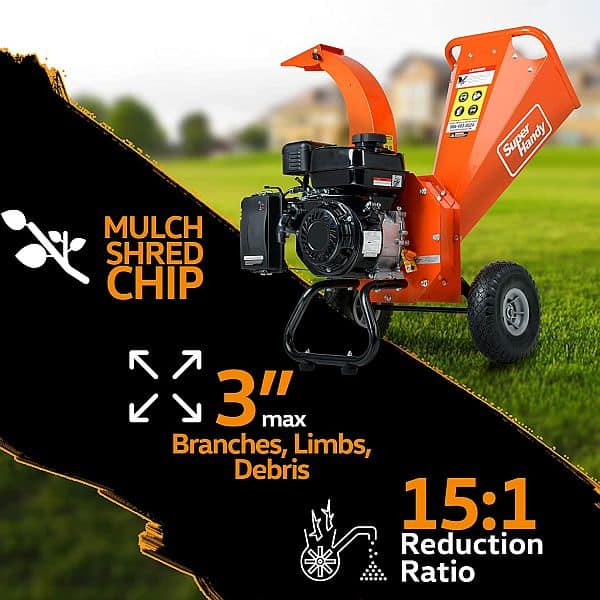 Wood chipper poster with listed features of chipper-shredder