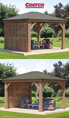 a modern gazebo with a wall #gazeboideas #gazebo #pavillion #pavilion #backyardGazebo #patioFurniture #costco