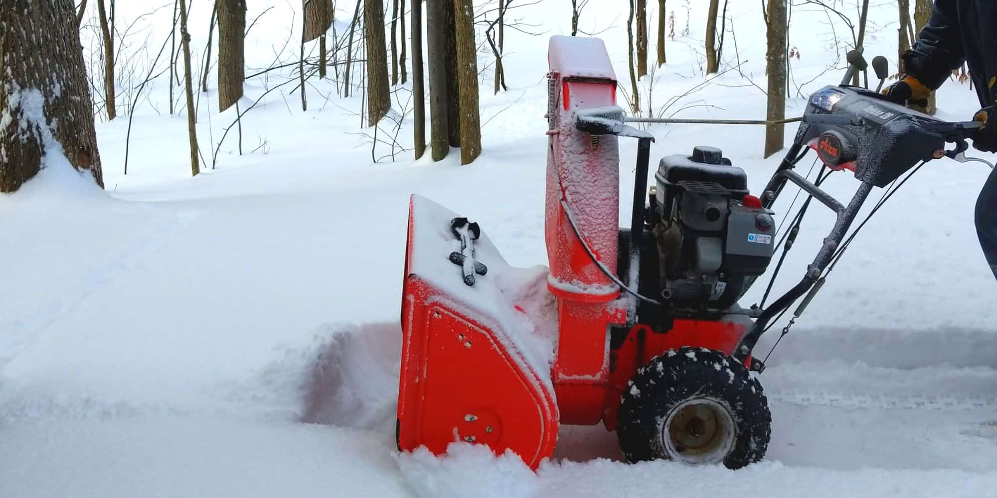 A Gas Snow Blower in snow