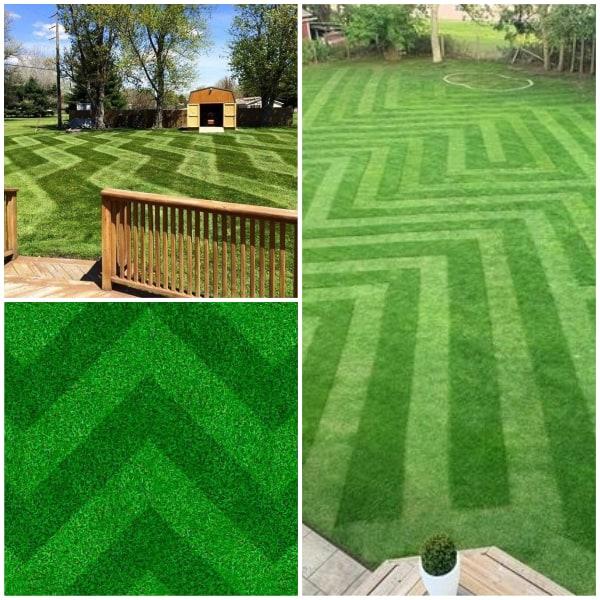 Cornered Lawn Stripes