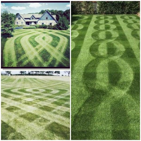 crossing pattern Lawn Stripes