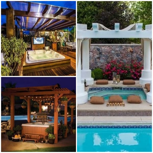Poolside Pavillion Ideas- Paviillion with Hot Tub
