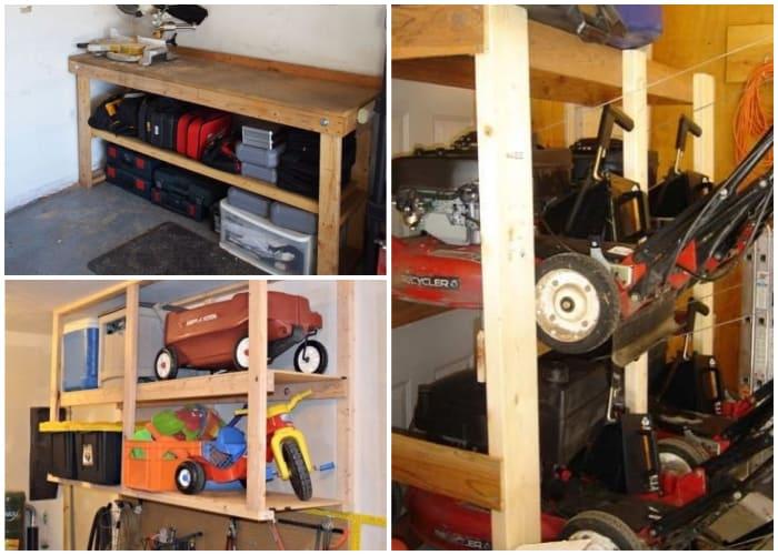 Lawn Mower Stored in a Shelf