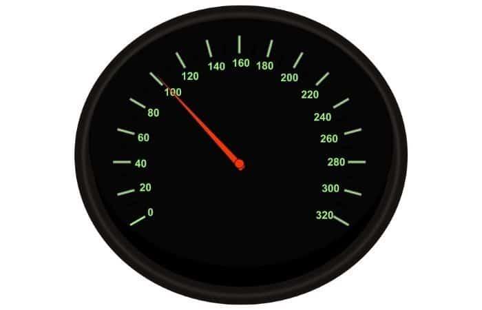 An image of a speedometer gauge