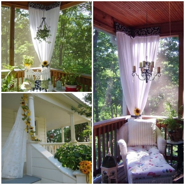 Porch Curtains with Sunflower Accent