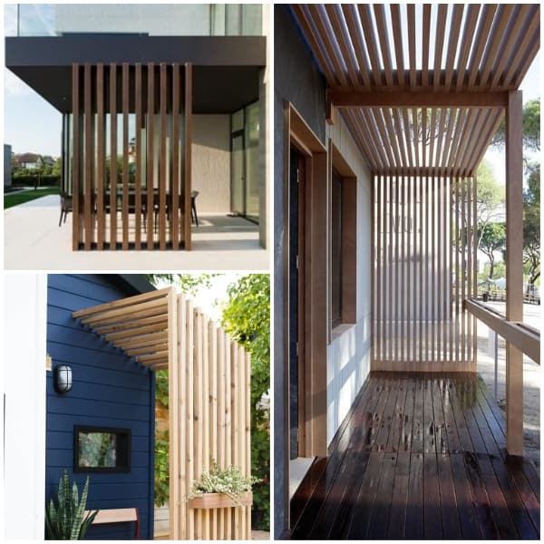 Vertical Wooden Slats for Patio Walls