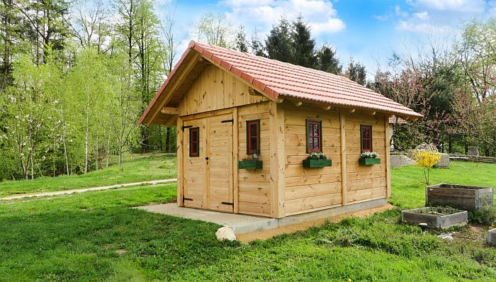 A wooden shed in the Backyard