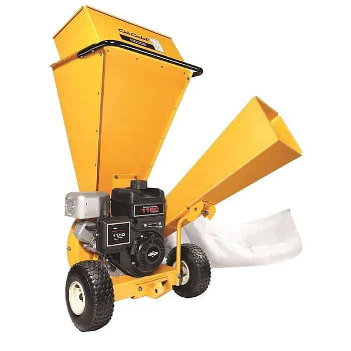 A gas powered wood chipper painted yellow