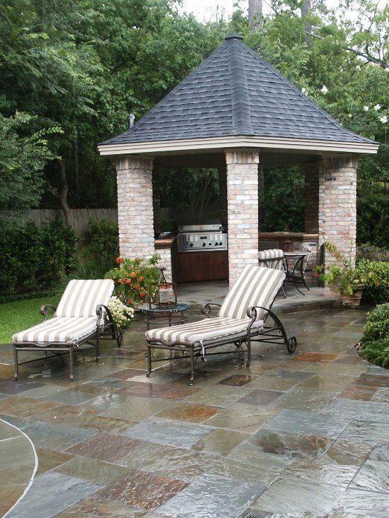 a brick gazebo with an outdoor kitchen #gazeboideas #gazebo #pavillion #pavilion #backyardGazebo #outdoorKitchen #backyardKitchen #outdoorFurniture