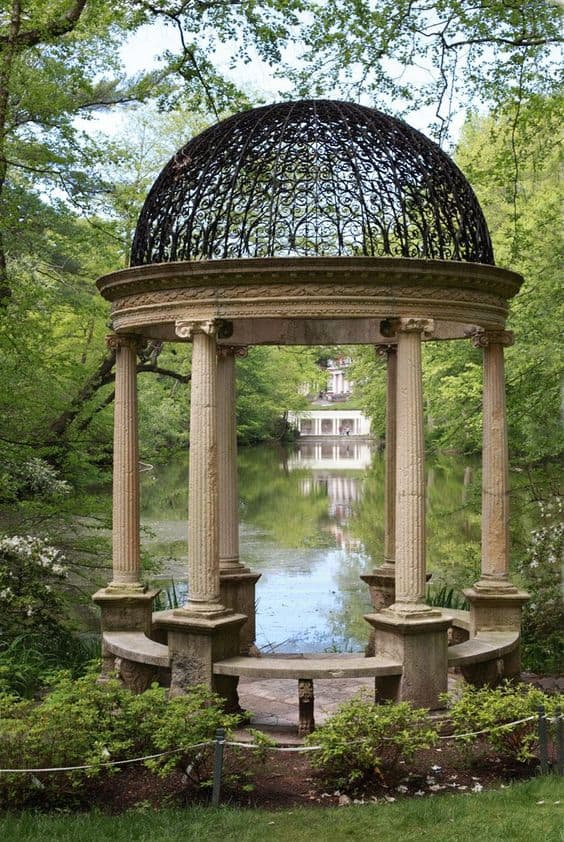 a stone gazebo near a pond #gazeboideas #gazebo #pavillion #pavilion #backyardGazebo #pond