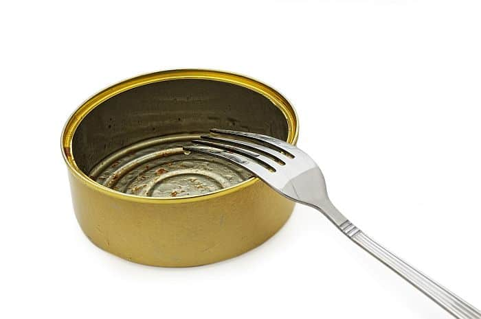 A tin can with fork