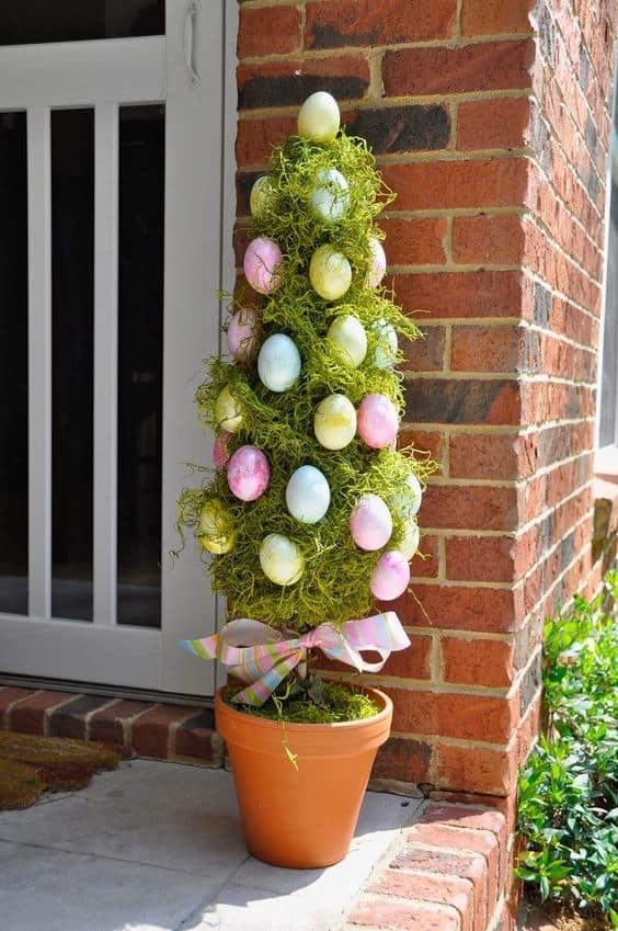 Easter Planter arrangement on a porch #easter #backyardporch #porchIdeas #frontDoorDecor