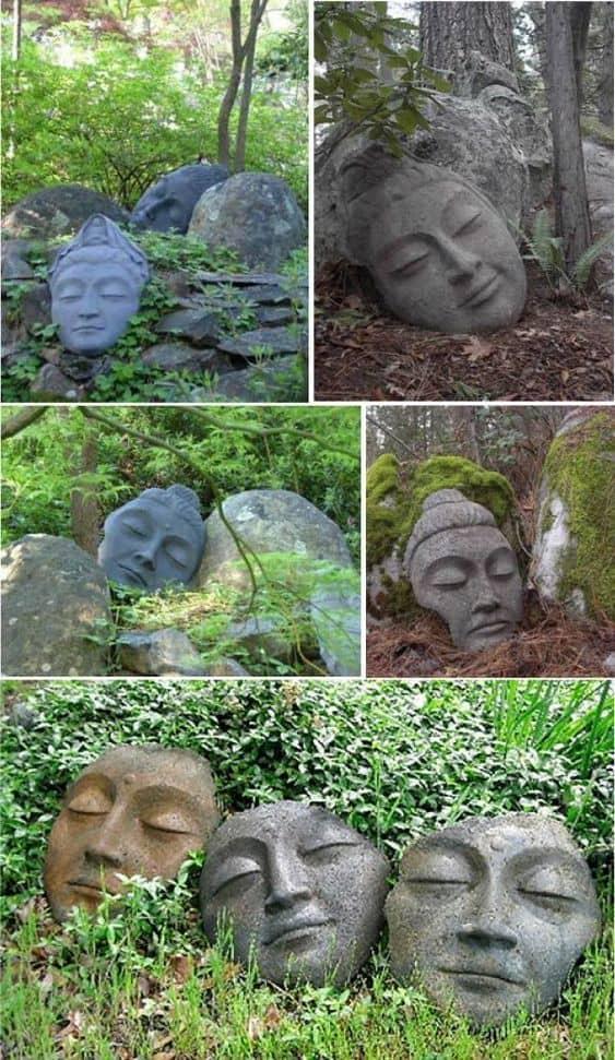 Stone face sculptures #gardenSculptureIdeas #garden #landscaping #sculpture