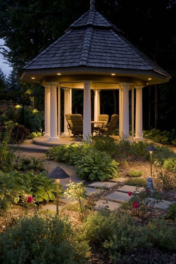 #architecturallighting #gazebo #gazeboideas #backyardGazebo #backyardLandscaping #backyardLandscapingIdeas #landscaping #landscape #lighting #lights #backyardLighting #outdoorLights