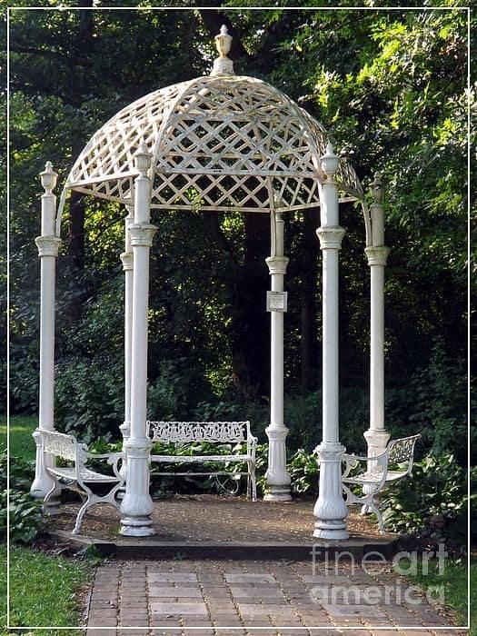 a fancy gazebo with outdoor furniture #gazeboideas #gazebo #pavillion #pavilion #backyardGazebo #outdoorSpace #outdoorRoom #patioFurniture