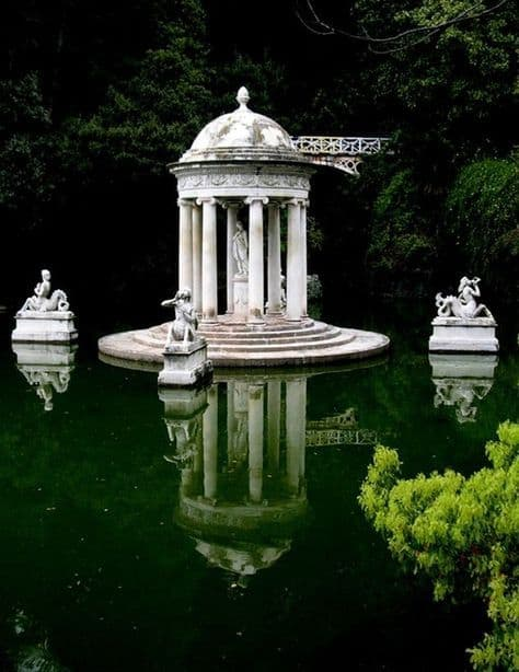 a stone gazebo in the middle of a pond #gazeboideas #gazebo #pavillion #pavilion #backyardGazebo #pond
