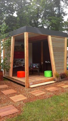 a modern gazebo with an outdoor room #gazeboideas #gazebo #pavillion #pavilion #backyardGazebo #outdoorSpace #outdoorRoom