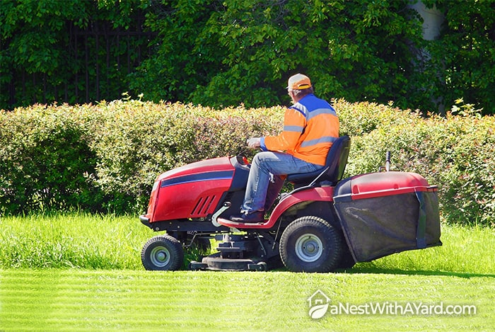Garden tractor with a grass bagger attached