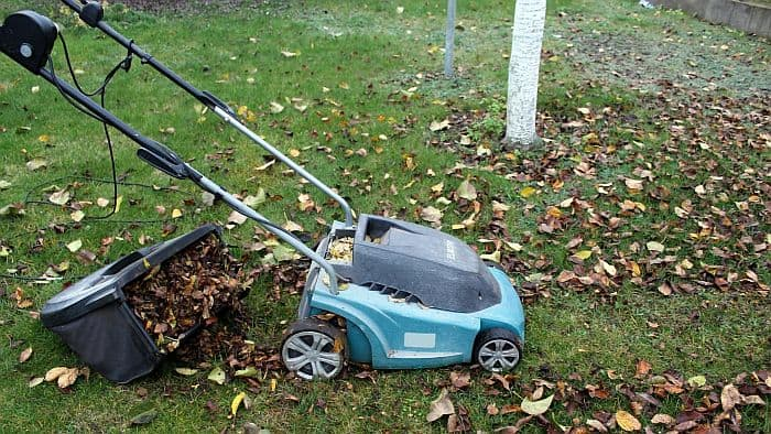 Blue Lawn Mower with Sweeper