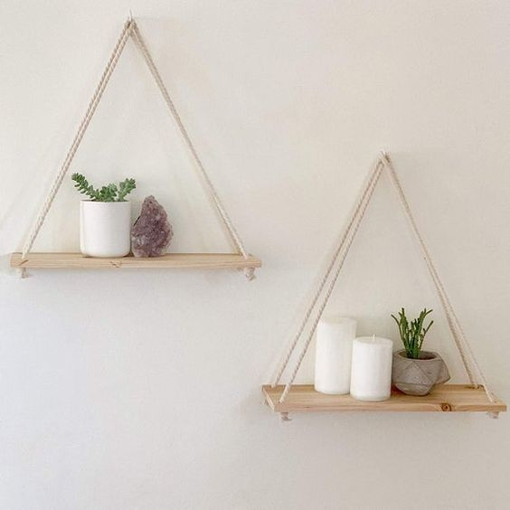 How to hang plants from walls: Macrame Hanging Shelf #wall #indoorGardenIdeas #indoorgardendesigns #indoorgardenapartment #apartmentindoorgarden #apartmentgardening #plants