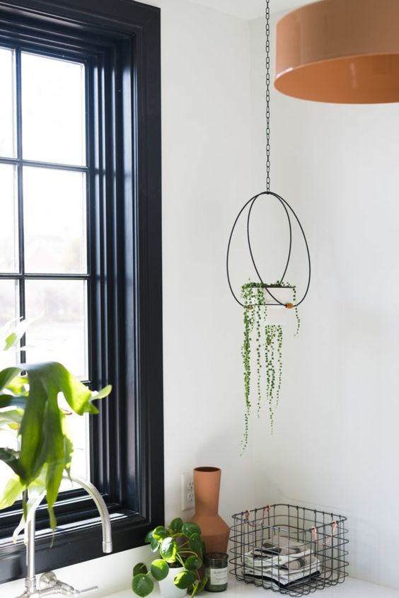 How to hang plants from a ceiling: Modern twist to hanging a plant #diy #ceiling #indoorGardenIdeas #indoorgardendesigns #indoorgardenapartment #apartmentindoorgarden #apartmentgardening #plants